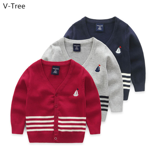 Spring Autumn Boys Cotton Sweater Children Long Sleeve Cardigan Toddler Winter Warm Knitted Coat Clothing Baby Kids Stripe Cloth