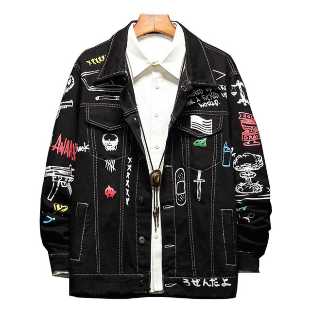d23420032 MORUANCLE Fashion Mens Printed Hip Hop Jean Jackets Hi Street ...