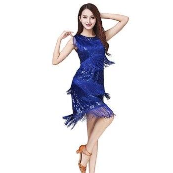 3974ac13d Nuevo 2016 vestido de baile latino personalizado para mujer azul negro Tango  Cha Rumba Samba vestido para baile Regatas femeninas Adul