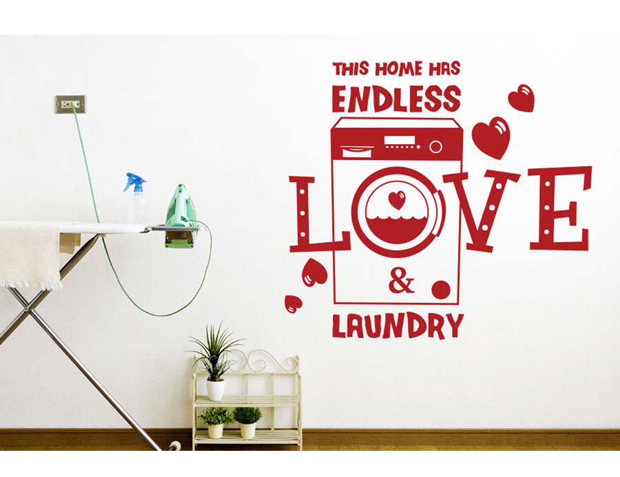 Romantic slogan This Home Has Endless Love And Laundry vinyl wall applique detachable laundry room decoration wallpaper XY05