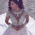 Lujo Brillante Cristal Rebordear Encaje Vestidos de Novia 2017 de Bola de La Vendimia Vestido De Noiva 2016 de la Cucharada de Vestidos de Novia de Alta Calidad