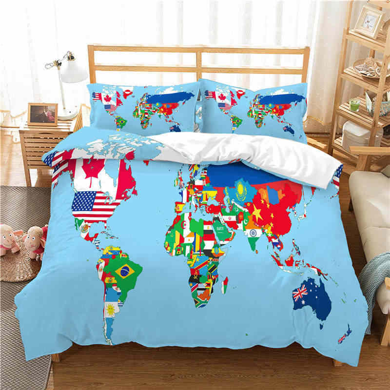 WAZIR world map 3D Reactive printing bedding set duvet cover Pillowcases  comforter bedding sets Country map bedclothes bed linen