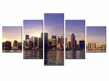 Wholesale 5 pieces / set of Beautiful city landscape wall art for decorating homeDecorative painting on canvas /XC-City-49