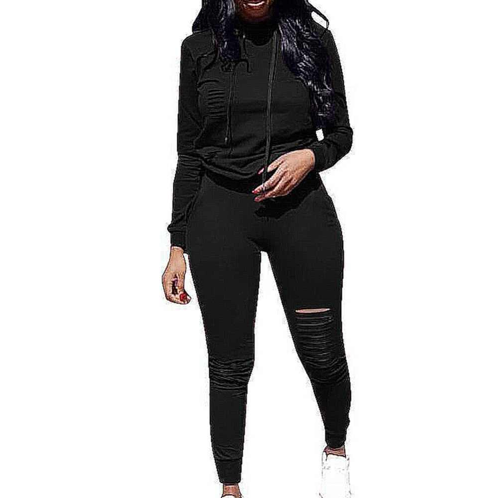 2019 新ツーピースセットトラックスーツ女性春スポーツウェアスーツパーカートレーナー + 中空パンツ 2 点セット女性セット