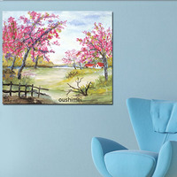 Home Decor Painting Handmade Landsacpe Paintings On Canvas Modern Oil Painting Picture Art Peach Blossom Tree Free Shipment