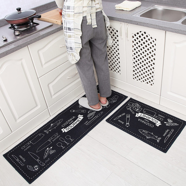 2Pcs/Set Japanese Style Kitchen Long Floor Mat Water Absorption And Oil  Control Kitchen Rugs