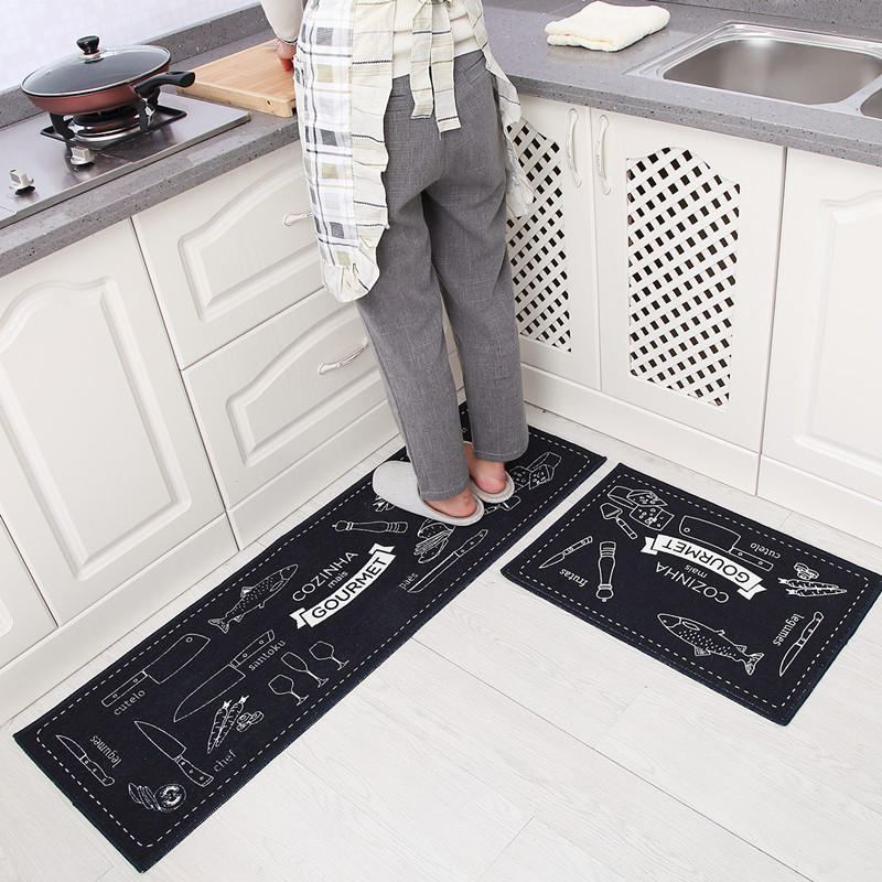 2Pcs/Set Japanese Style Kitchen Long Floor Mat Water Absorption and Oil Control Kitchen Rugs Mats