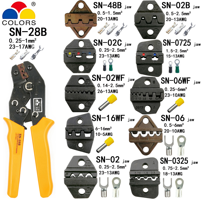 SN-28B alicates 10 mordazas para TAB 2,8 4,8 6,3/C3 XH2.54 3,96 2510/tubo/no insuated terminales eléctricos clamp kit herramientas