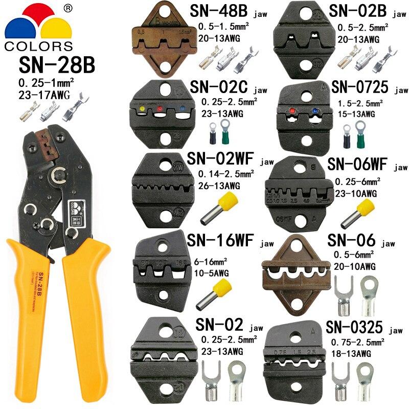 SN-28B pinze di piegatura 10 ganasce per TAB 2.8 4.8 6.3/C3 XH2.54 3.96 2510/tubo/non insuated terminali elettrico clamp kit di strumenti di