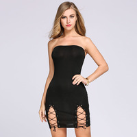 Sexy Women Solid Black Grey Red Party Club Wear Bandeau Collar Sleeveless Lace Up Hem Elastic