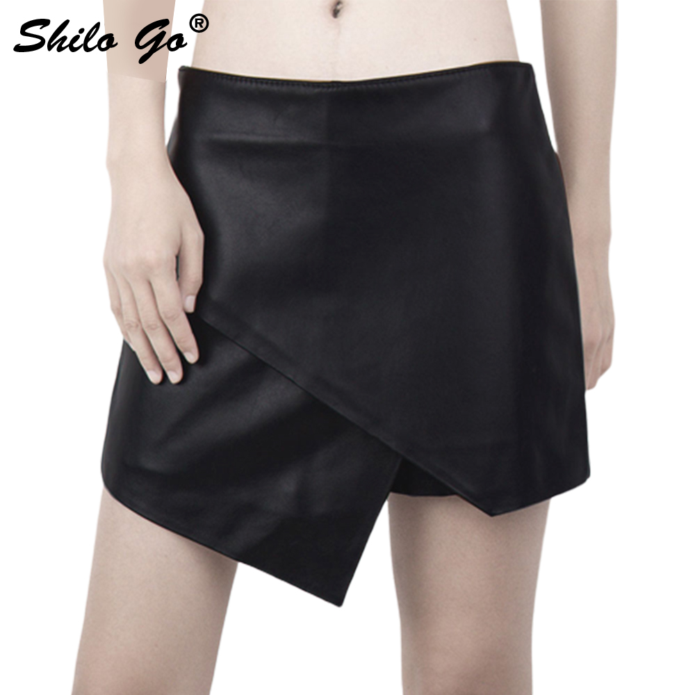 Leather Shorts Womens Autumn Fashion Sheepskin Genuine Leather Shorts Skirts High Waist Wide Leg Zipper Asymmetrical Shorts