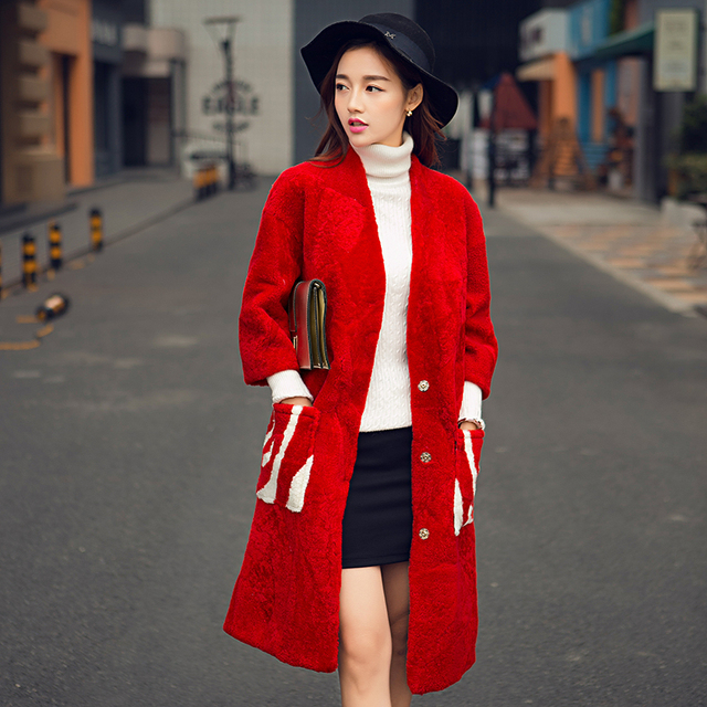 European and United States long style Merino sheep fur overcoat women winter coat female real lamb fleece fur coat g7829