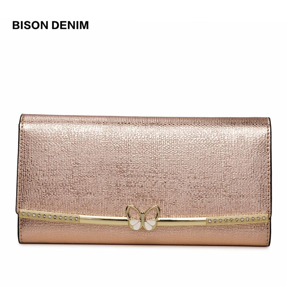 BISON DENIM Genuine Leather Purse Female Luxry Brand Women Wallets Long Zipper Long Clutch Card Holder Coin Purse B3272