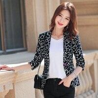 YASUGUOJI New 2019 Office Lady Slim Three Quarter Sleeve Blazer Women Fashion White Leopard Blazer Women Work Women Suit Jacket
