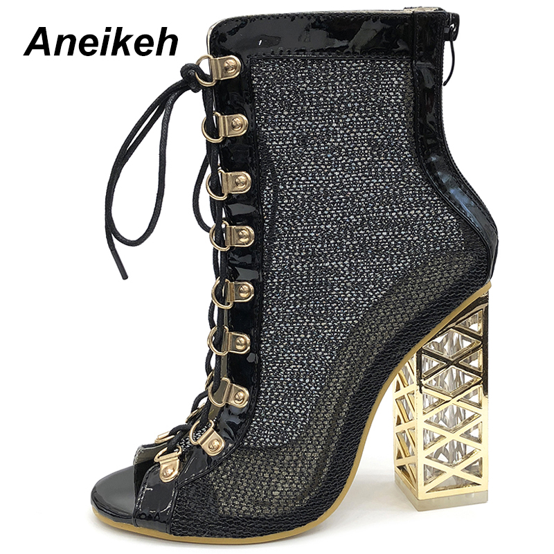 41bb51be13 US $21.68 48% OFF|Aneikeh 2019 New Summer Sandal Sexy Golden Bling  Gladiator Sandals Women Pumps Shoes Lace Up High Heels Sandals Boots  Gold-in Ankle ...