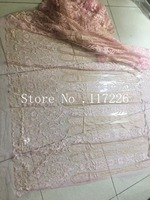 Excellent sparkly glued glitter French tulle Material Net Lace JRB-62310 French Net Lace fabric in light pink color