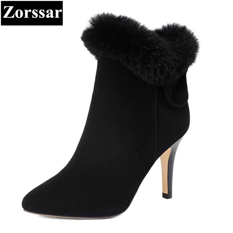 {Zorssar} 2017 NEW Winter warm Ladies shoes Fashion Real leather Rabbit hair Women Ankle Boots High heels Womens Snow boots zorssar 2017 new winter ladies shoes fashion real leather women ankle boots high heels platform womens martin boots size 33 43