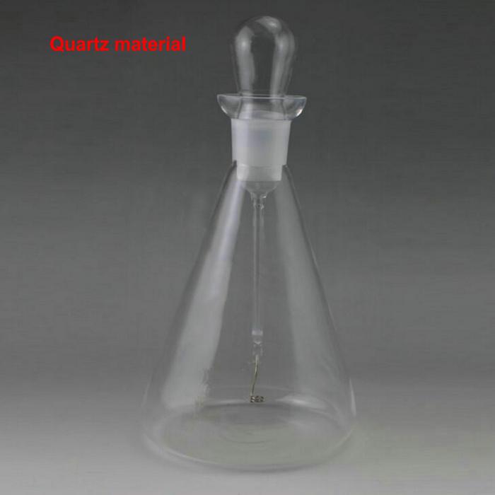 500ml/1000ml quartz oxygen combustion flask with Platinum, Burnable oxygen quartz flask, Laboratory equipment conical iodine quartz flask with stooper triangle quartz flask