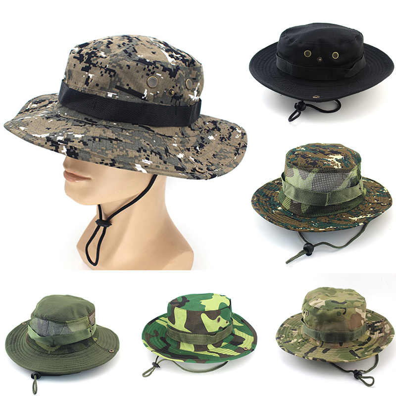 Unisex Casual Camouflage Bucket Hat With String Summer Men Women Fisherman  Cap Military Panama Safari Boonie 8c53234226f
