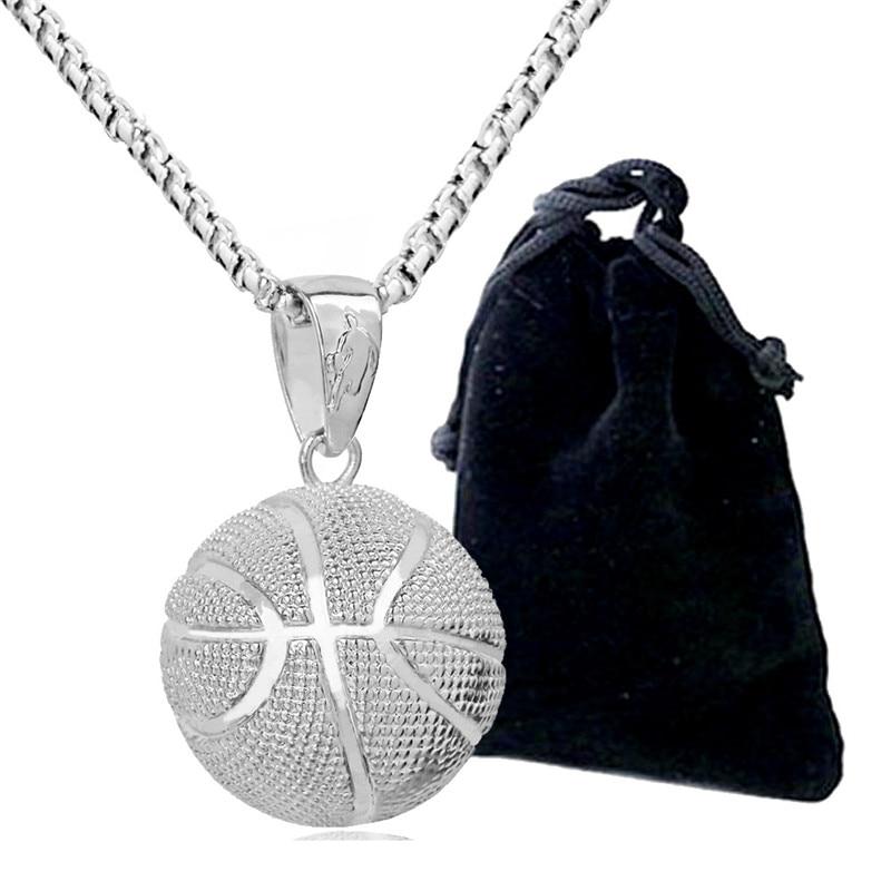 3D Basketball Halsketten Silber Farbe Anhänger Sport Hip Hop Schmuck - Modeschmuck - Foto 5