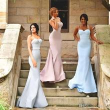 Spaghetti Strap Mermaid Bridesmaid Dresses Sweetheart Sexy Satin Wedding Guest Dress Back Covered Button Cheap Party Dress BD149