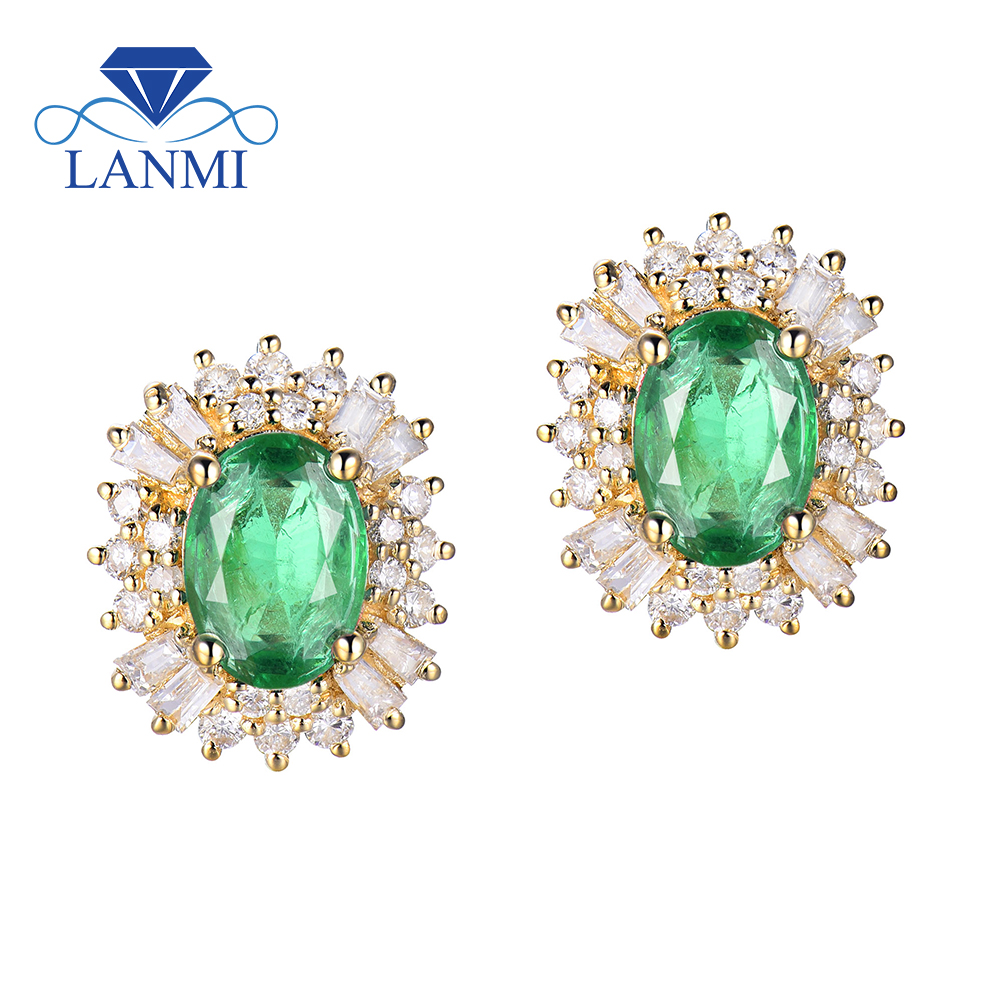 Fine Women Earrings Solid 18k Yellow Gold Natural Green Emerald Gemstone Genuine Diamonds For Female Party Dressing Jewelry Gift