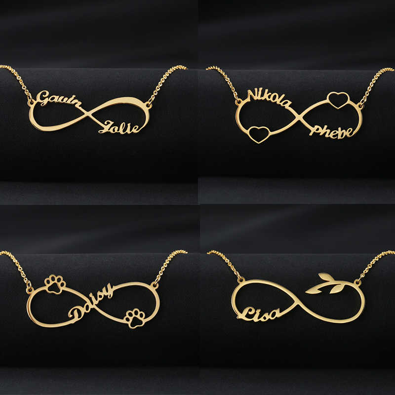 Custom Stainless Steel Infinity Name Necklace For Women Men Personalized Silver Gold Rose Heart Choker Necklace Couple Jewelry