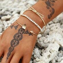 3 шт/компл браслеты в богемном стиле с бантом со стразами круглые