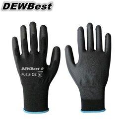 DEWBest PU518 neues design Günstigen Preis 13G schwarz PU Arbeitshandschuhe Palm Beschichtete, arbeitshandschuhe, Arbeitssicherheit 2 stück = 1 pairs