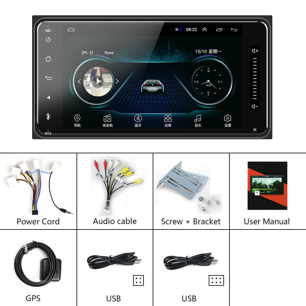 Podofo 2 din android 8.1 Universele Auto Multimedia Speler Autoradio Stereo voor Toyota VIOS CROWN CAMRY HIACE PREVIA COROLLA RAV4