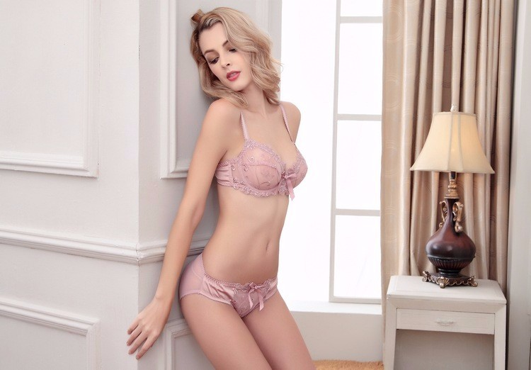 Shitagi France Women Sexy Ultra-thin Underwear Set Transparent Lace Bra & Brief Set Sweet Tow Bow Intimates For Girl Embroidery 15