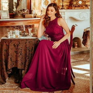 Image 4 - Robe Longue Dentelle Bridesmaid Dresses 2020 Ever Pretty New Arrival A line Sleeveless Burgundy Women Wedding Guest Party Gowns