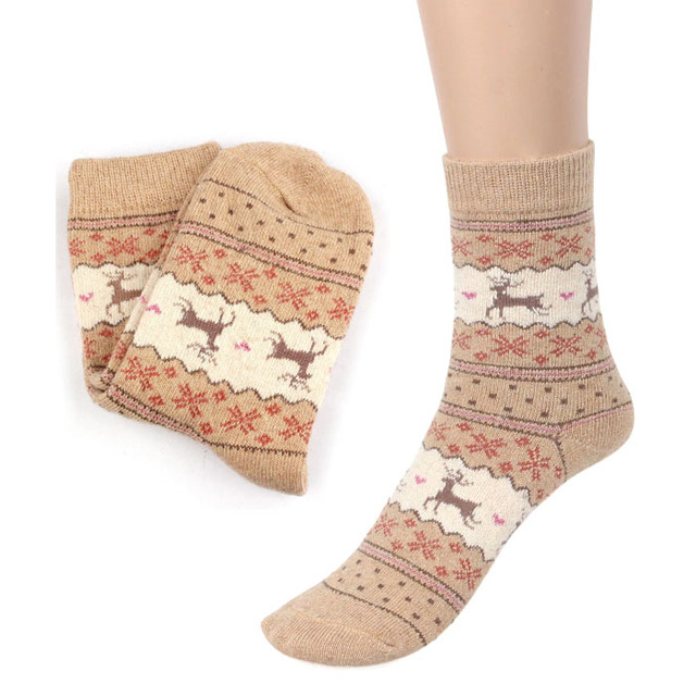 Christmas Deer Pattern Knit Wool Socks Warm Winter Yoga Socks Soccer