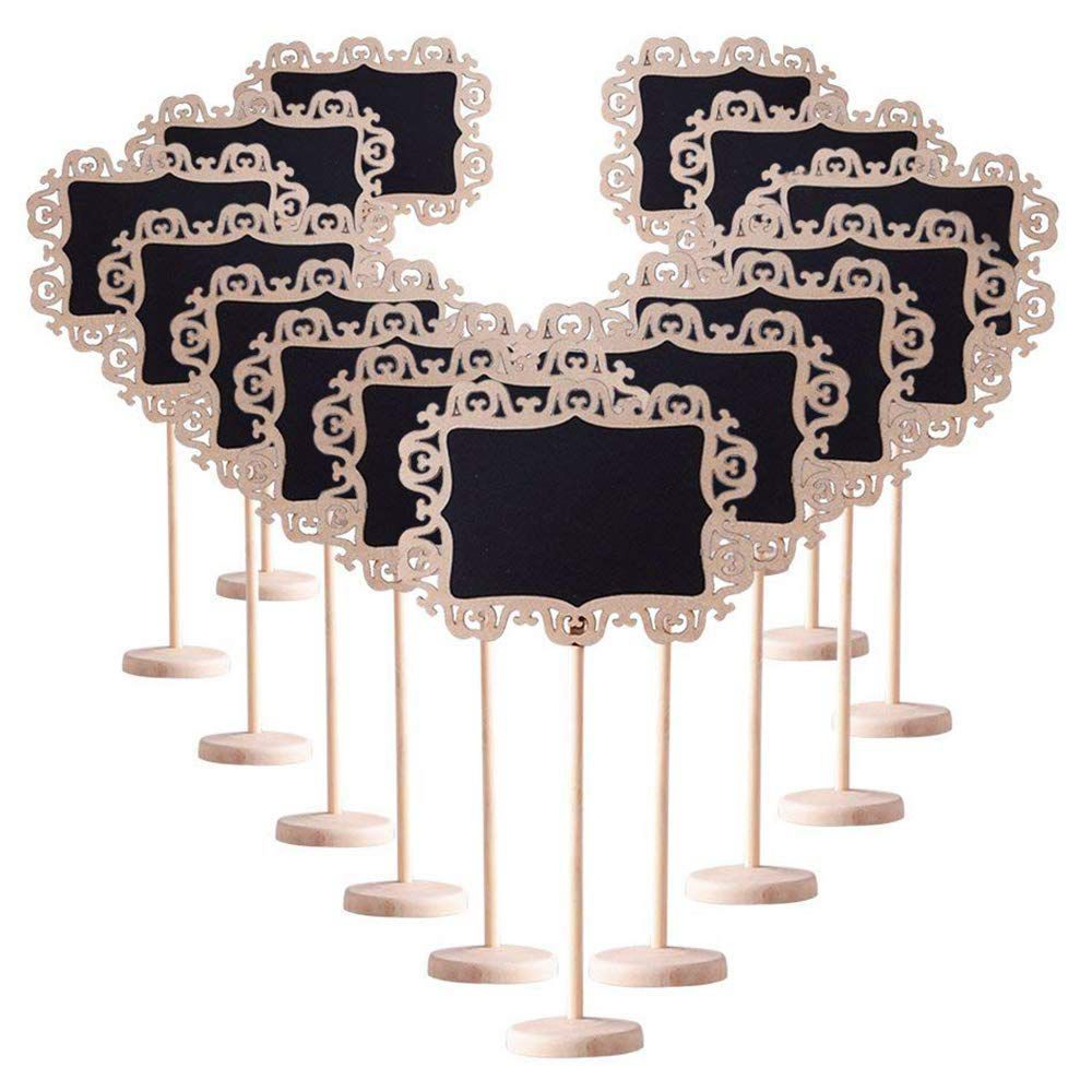 14 pièces Mini Bordure Décorative Signes de Tableau Noir avec Support Tableau Noir pour Les Mariages Place Cartes Parties Babillard Signe un
