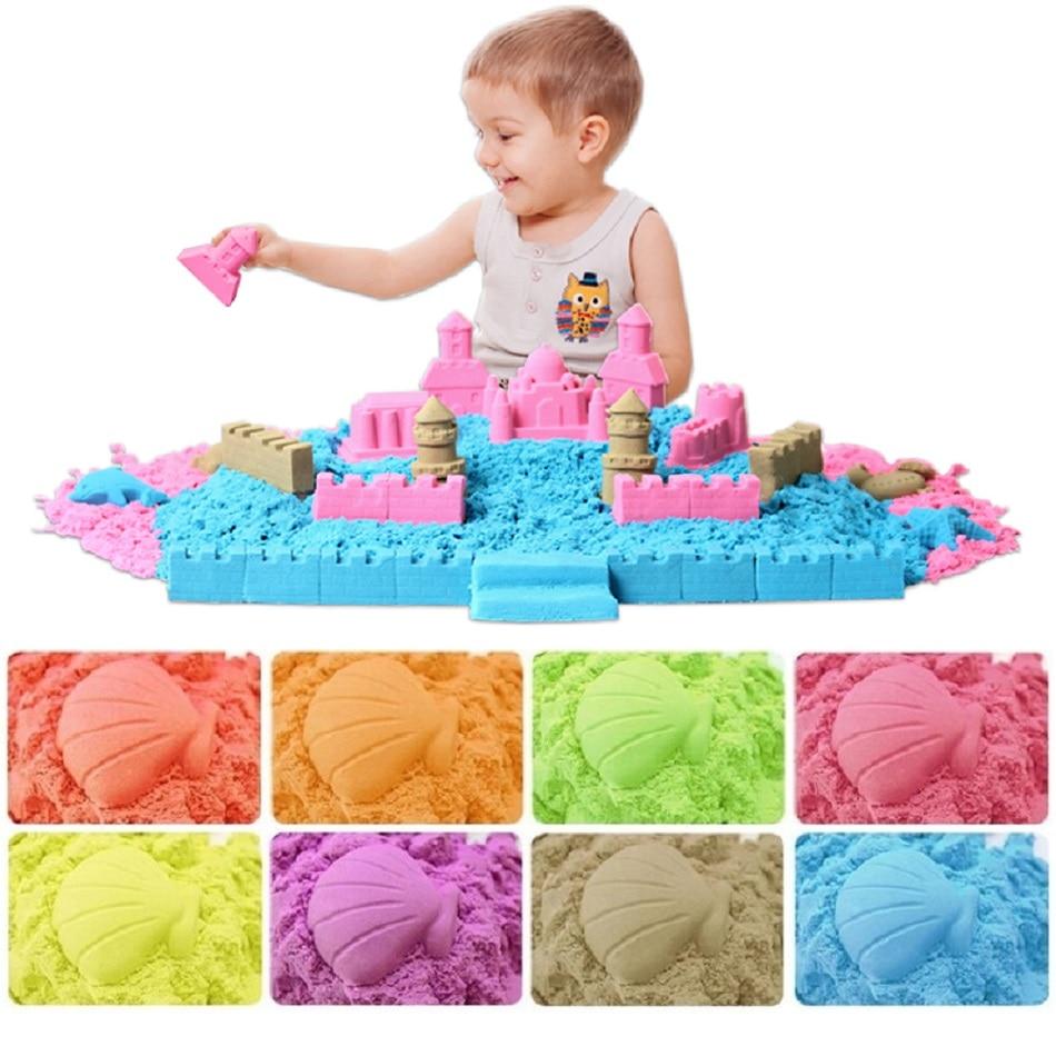 500g de arena cinética de juguete con herramientas para dinámica de educación de los niños de magia plastilina playa Arena espacio juguetes para los niños