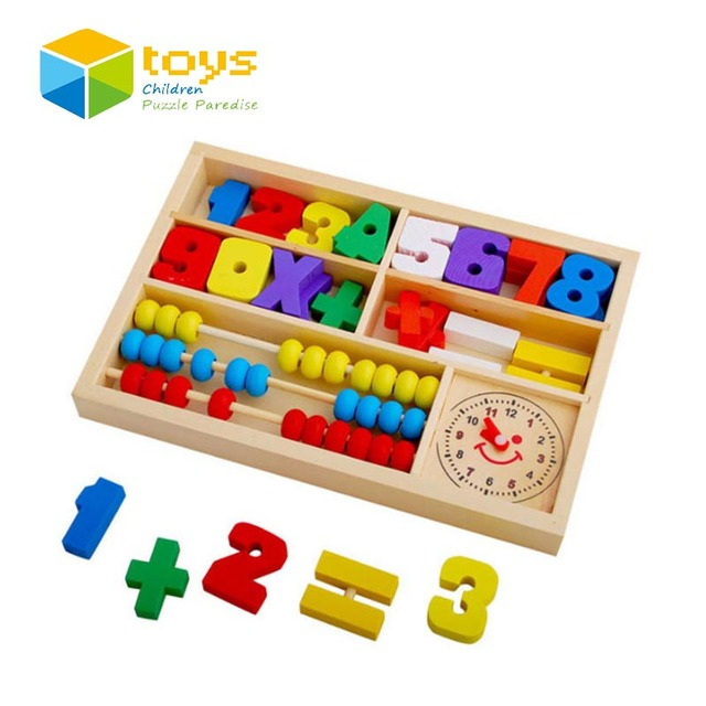 b40fd635ecf6 Wooden Mathematic Abacus Puzzle Early Educational Toys for Children Kids  Baby Math Blocks Learning toys Digital Clock Best Gifts