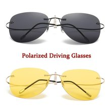 ae102180afd3ec Randloze gepolariseerde zonnebril nachtzicht bril ultralight schroefloos  frameloze Luchtvaart zonnebril voor mannen titanium leg.