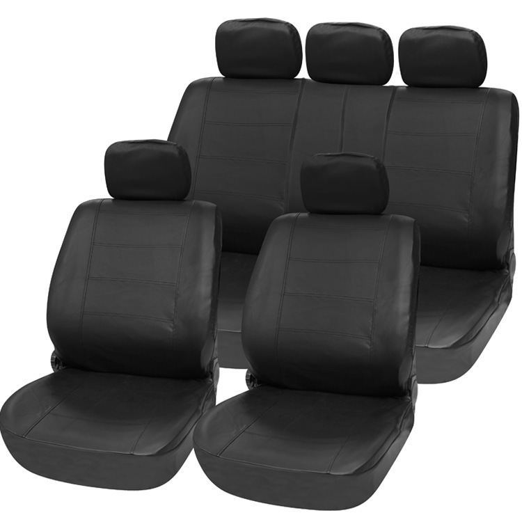 TIROL T21623a Universal PU Black Imitation Leather 11 Pieces Front & Rear Seat Covers For Crossovers SUV Sedans 11 pc charcoal scottsdale seat covers front rear l cargo rubber mats universal