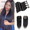 4 Bundles Straight Virgin Hair With Closure 8A Brazilian Straight Human Hair With Closure Brazillian Straight Hair With Closure