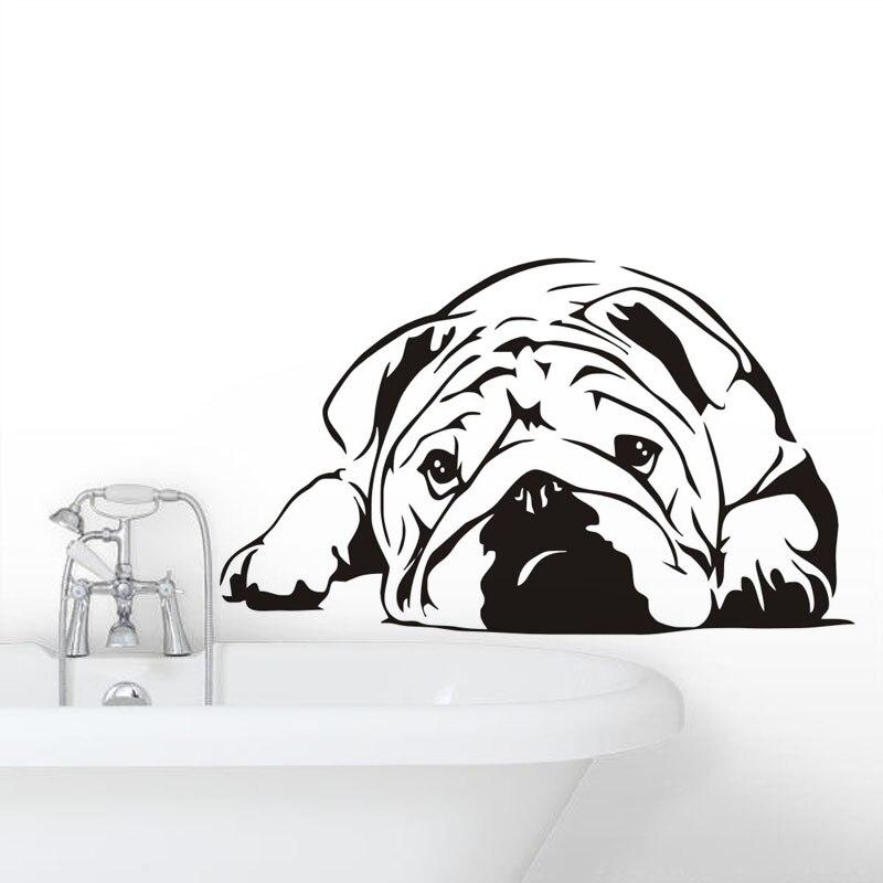 Niedlichen Tier Styling Wandaufkleber English Bulldog Removable Home Dekoration Wohnzimmer Bettzimmer Faul Hund Vinyl Aufkleber