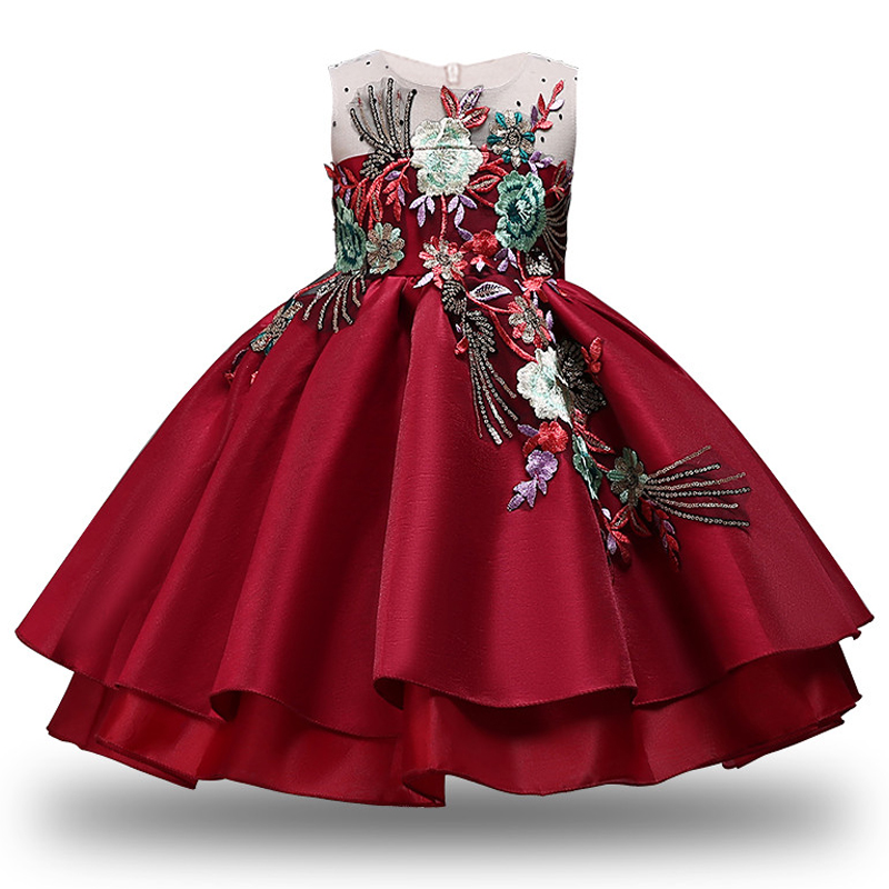 08e732a53 Vestido para niñas bordado 2-12 años bebé niña vestido para fiesta de boda  elegante Formal niños ropa niño vestido de niña