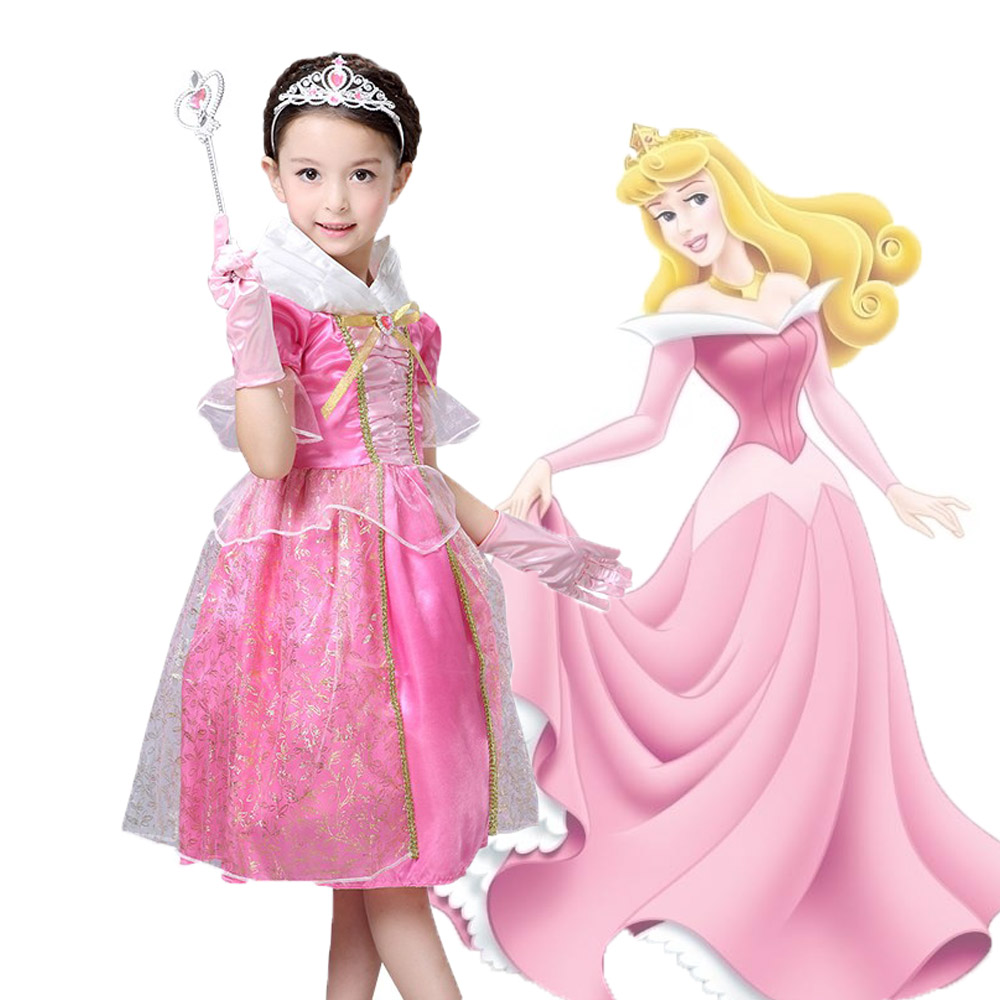 Sleeping Beauty Princess costume Summer girl dress  pink Princess Aurora Dresses for girls party Costume free ship sleeping beauty like princess pet bed for miniature poodle mini schnauzer pekingese etc