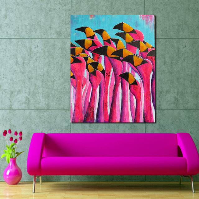 JQHYART Flamingoes In Rajasthan Wall Pictures For Living Room Canvas ...