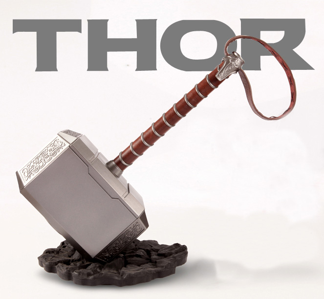 Thor Hammer Avengers Thor's Hammer Piggy Bank Coin Box Thor Hammer Stage Property ABS Plastic Gift 45CM Drop Ship