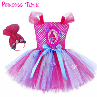 Adorable Princess Girl Trolls Poppy Party Favors Bubbles Tutu Dress Child Troll Costumes For Kids first Birthday with Headband