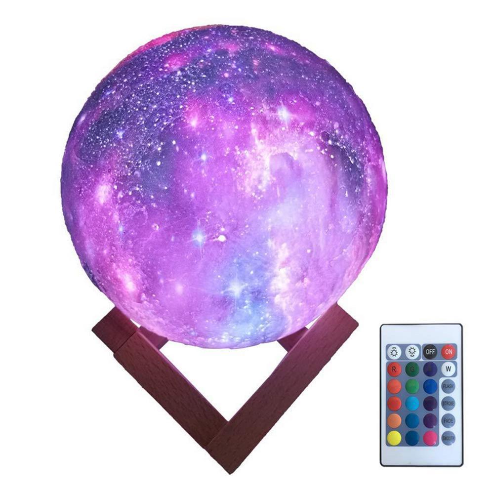 Maan Lamp Persoonlijkheid 3D Afdrukken Creatieve Lunar USB Opladen Licht Nachtlampje LED Afstandsbediening Helderheid