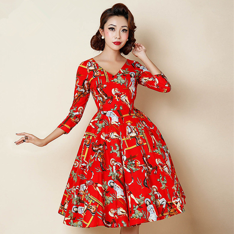 a05fa792616cb summer women vintage 50s rockabilly pinup style sweetheart neck midi ...
