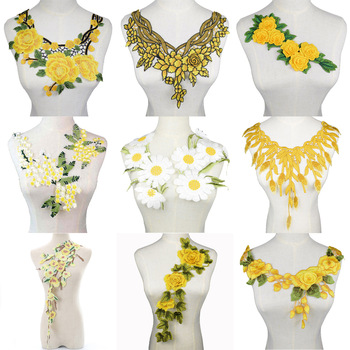 1Pc 3D Embroidered Fabric Yellow Rose Flower Venise Lace Sewing Applique Lace Collar Neckline Collar Applique Accessories