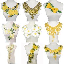 1Pc 3D Embroidered Fabric Yellow Rose Flower Venise Lace Sewing Applique Lace Collar Neckline Collar Applique Accessories(China)