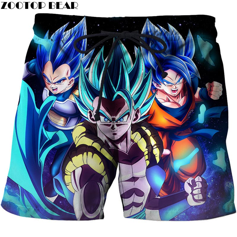 Three People Attack Dragon Ball Men Anime 3D Stone Printed Beach Shorts Male Quick Drying Casual Summer Board Shorts ZOOTOP BEAR